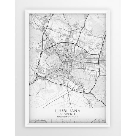 Plakat mapa LUBLANA - linia WHITE