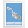 Plakat mapa MALTA - linia BLUE/GREY
