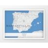 Plakat, mapa HISZPANIA - linia GREY/BLUE