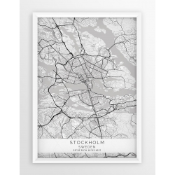 Plakat mapa SZTOKHOLM, STOCKHOLM - linia WHITE