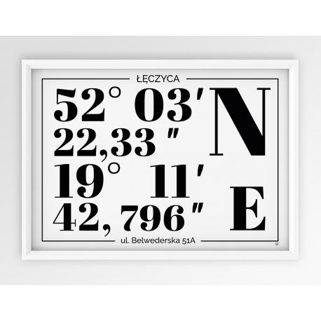 Plakat typograficzny POZIOMO - linia WHITE