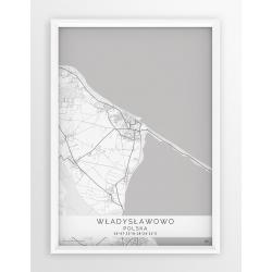 Plakat mapa WŁADYSŁAWOWO - linia WHITE