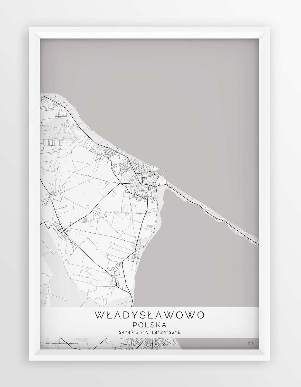 Plakat Mapa Wladyslawowo Seria White