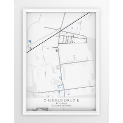Plakat mapa CHECHŁO DRUGIE - linia BLUE/GREY