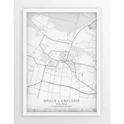 Plakat mapa OPOLE LUBELSKIE - linia WHITE