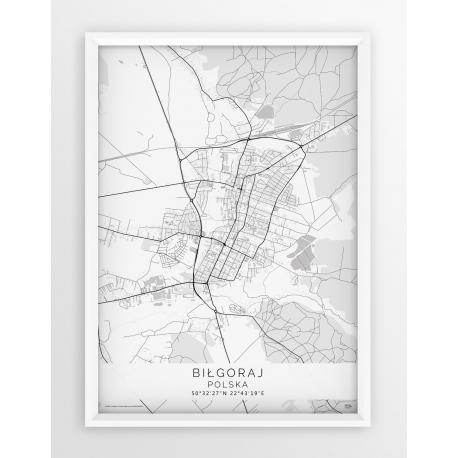 Plakat mapa BIŁGORAJ - linia WHITE