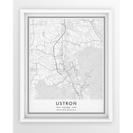 Plakat, mapa USTROŃ - linia WHITE z czarną ramką