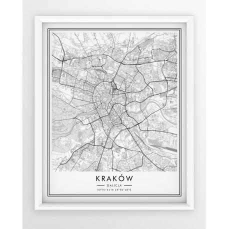 Plakat, mapa KRAKÓW - linia WHITE z czarną ramką