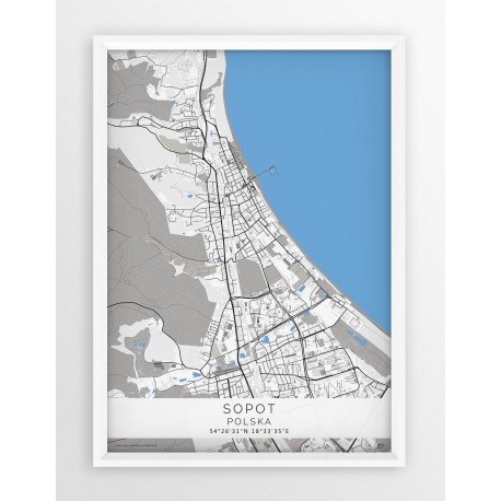 Plakat mapa SOPOT - linia BLUE