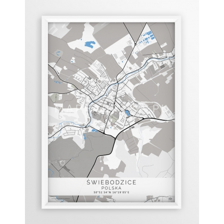 Plakat mapa ŚWIEBODZICE - linia BLUE