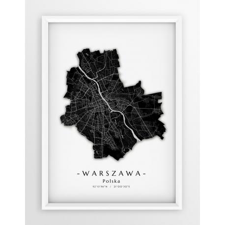 Plakat mapa WARSZAWA - GRANICE