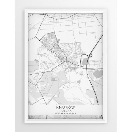 Plakat mapa KNURÓW - linia WHITE