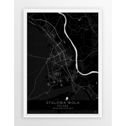 Plakat mapa STALOWA WOLA- linia BLACK