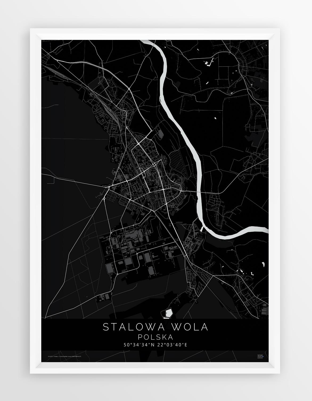 Plakat Mapa Stalowa Wola Seria Black