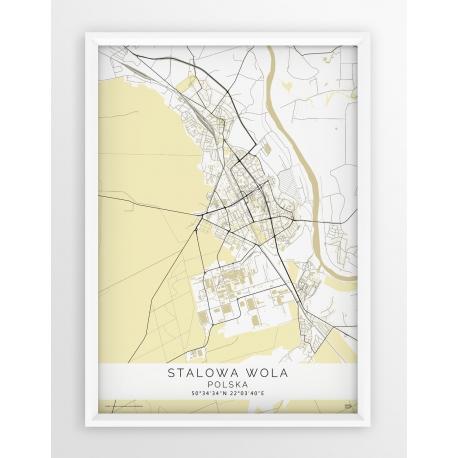 Plakat mapa STALOWA WOLA- linia BEIGE