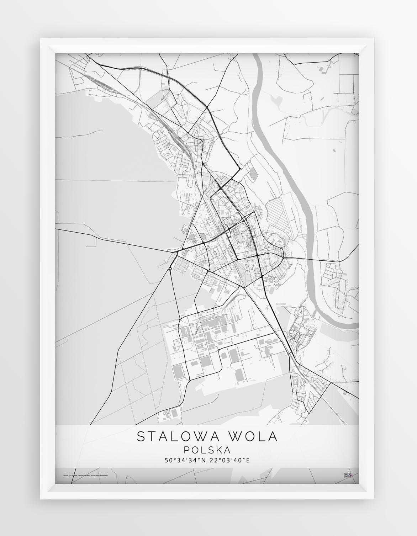 Plakat Mapa Stalowa Wola Seria White