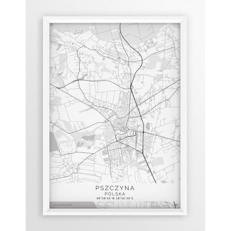 Plakat mapa PSZCZYNA - linia WHITE