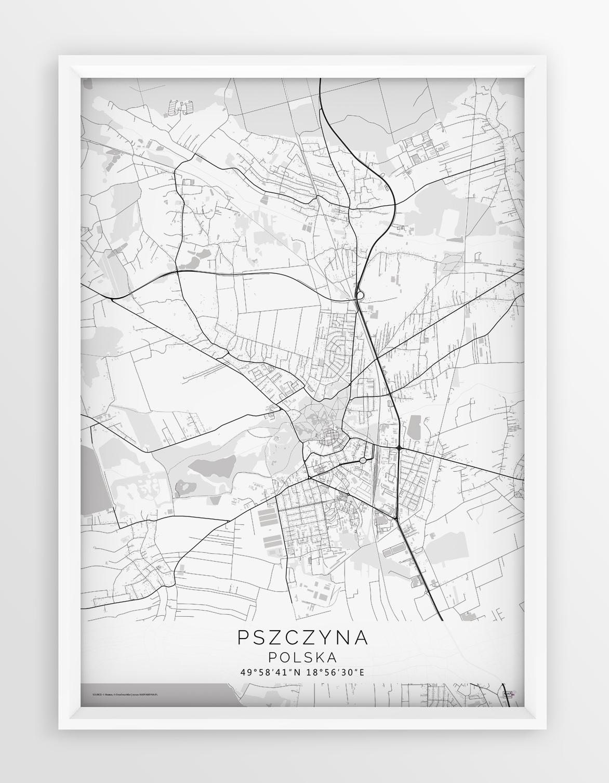 Plakat Mapa Pszczyna Seria White