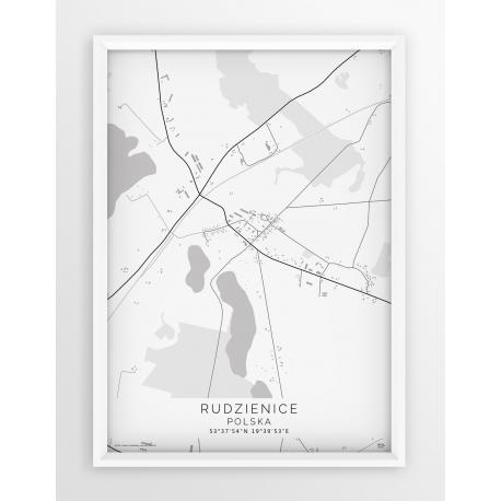 Plakat mapa RUDZIENICE - linia WHITE