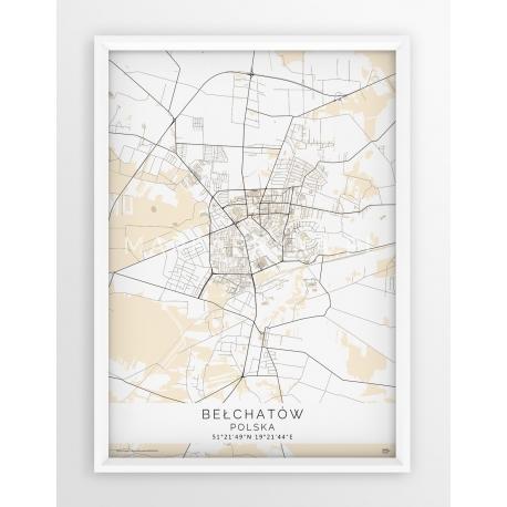 Plakat mapa BEŁCHATÓW - linia BEIGE