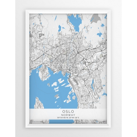 Plakat mapa OSLO - linia BLUE