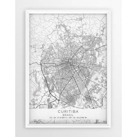 Plakat mapa CURITIBA - linia WHITE