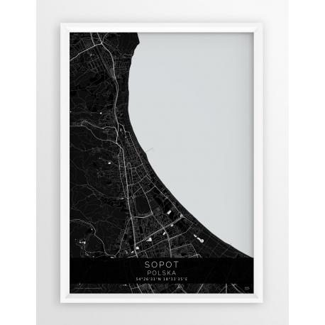 Plakat mapa SOPOT - linia BLACK
