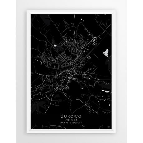 Plakat mapa ŻUKOWO - linia BLACK
