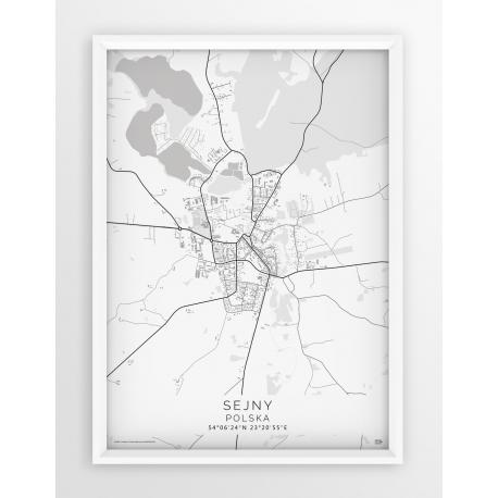 Plakat mapa SEJNY - linia WHITE
