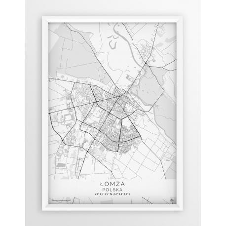 Plakat mapa ŁOMŻA - linia WHITE