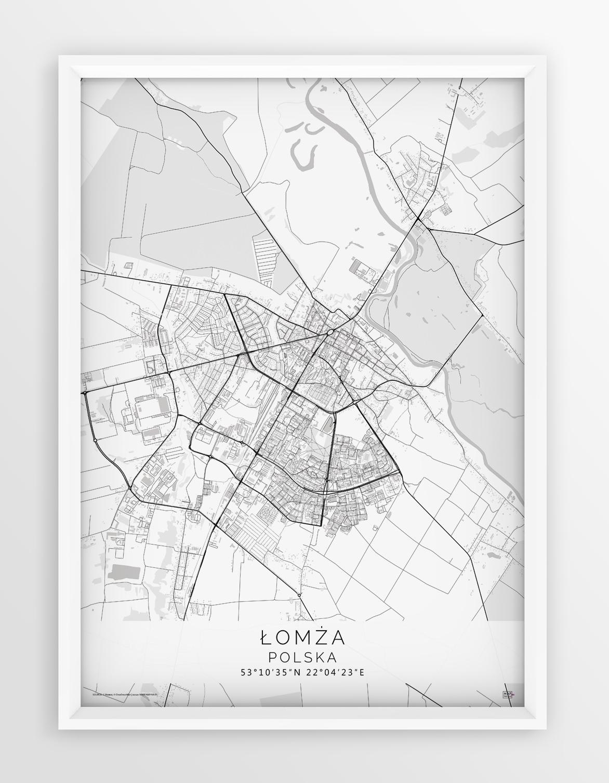 Plakat Mapa Lomza Seria White