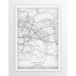 Plakat, mapa NOWA HUTA - linia WHITE