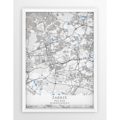 Plakat mapa ZABRZE - linia BLUE