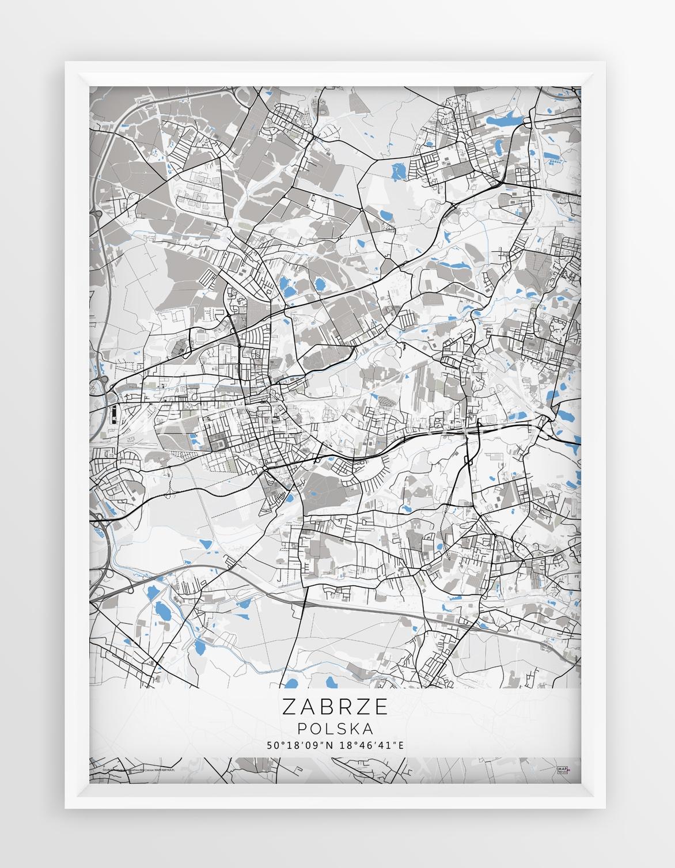 Plakat Mapa Zabrze Seria Blue