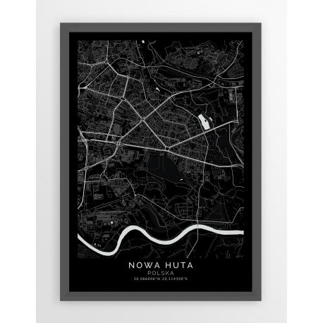 Plakat, mapa NOWA HUTA - linia PASSE-PARTOUT BCK