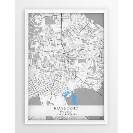 Plakat mapa PIASECZNO - linia BLUE