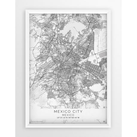 Plakat mapa MEXICO CITY - linia WHITE