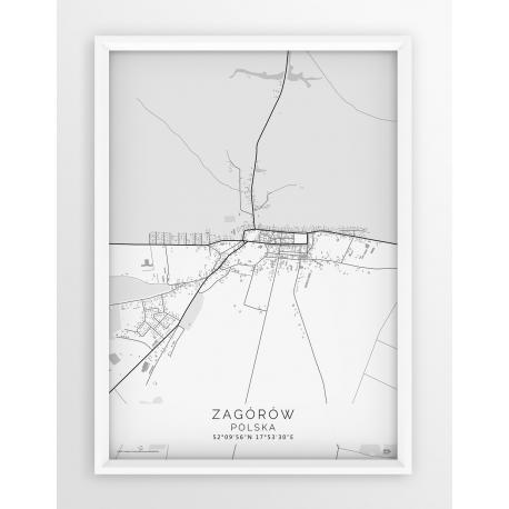 Plakat mapa ZAGÓRÓW - linia WHITE