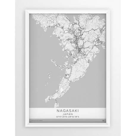 Plakat mapa NAGASAKI - linia WHITE