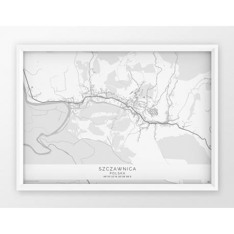 Plakat mapa SZCZAWNICA - linia WHITE POZIOMO