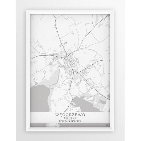 Plakat, mapa WĘGORZEWO - linia WHITE