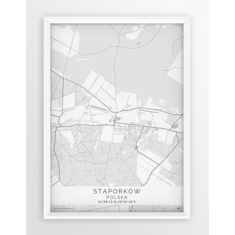 Plakat, mapa STĄPORKÓW - linia WHITE
