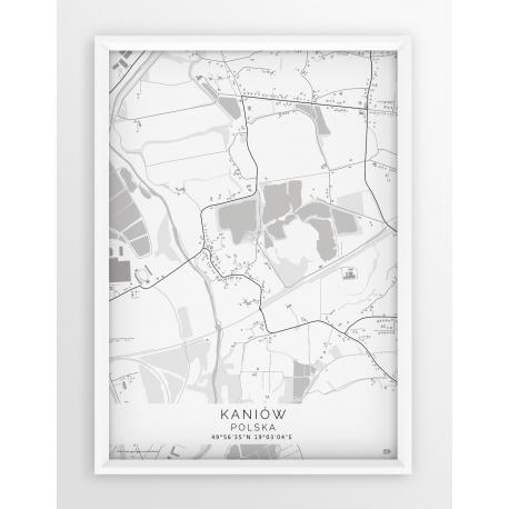 Plakat, mapa KANIÓW - linia WHITE