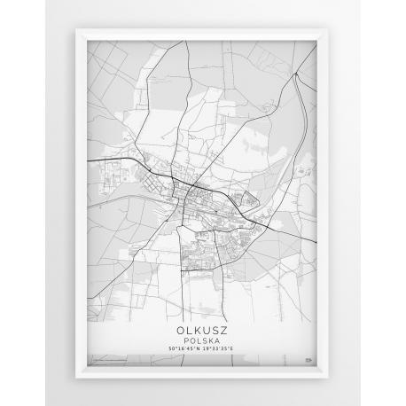 Plakat, mapa OLKUSZ - linia WHITE