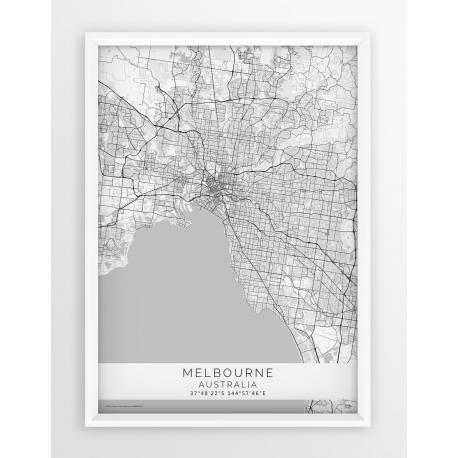 Plakat mapa MELBOURNE- linia WHITE