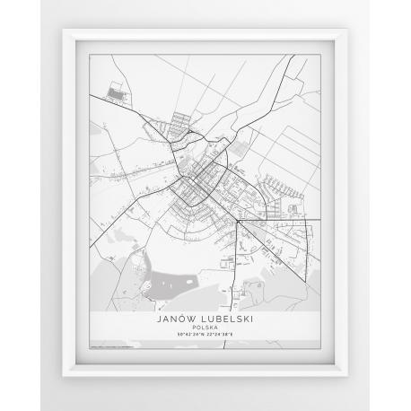 Plakat, mapa JANÓW LUBELSKI - linia WHITE-PASSEPARTOUT