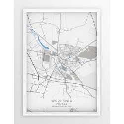 Plakat, mapa WRZEŚNIA - linia BLUE
