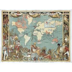 Stara mapa IMPERIUM BRYTYJSKIE (1886r) - reprint