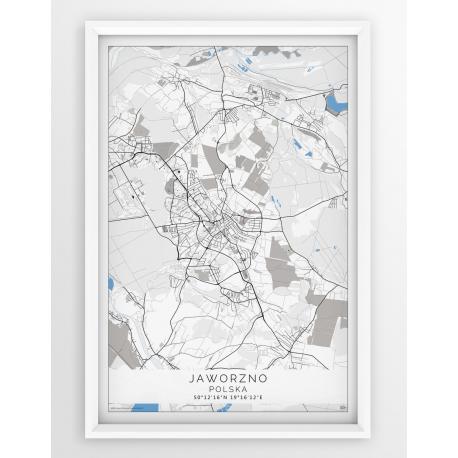 Plakat mapa JAWORZNO - linia BLUE - PP