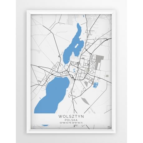 Plakat mapa WOLSZTYN - linia BLUE